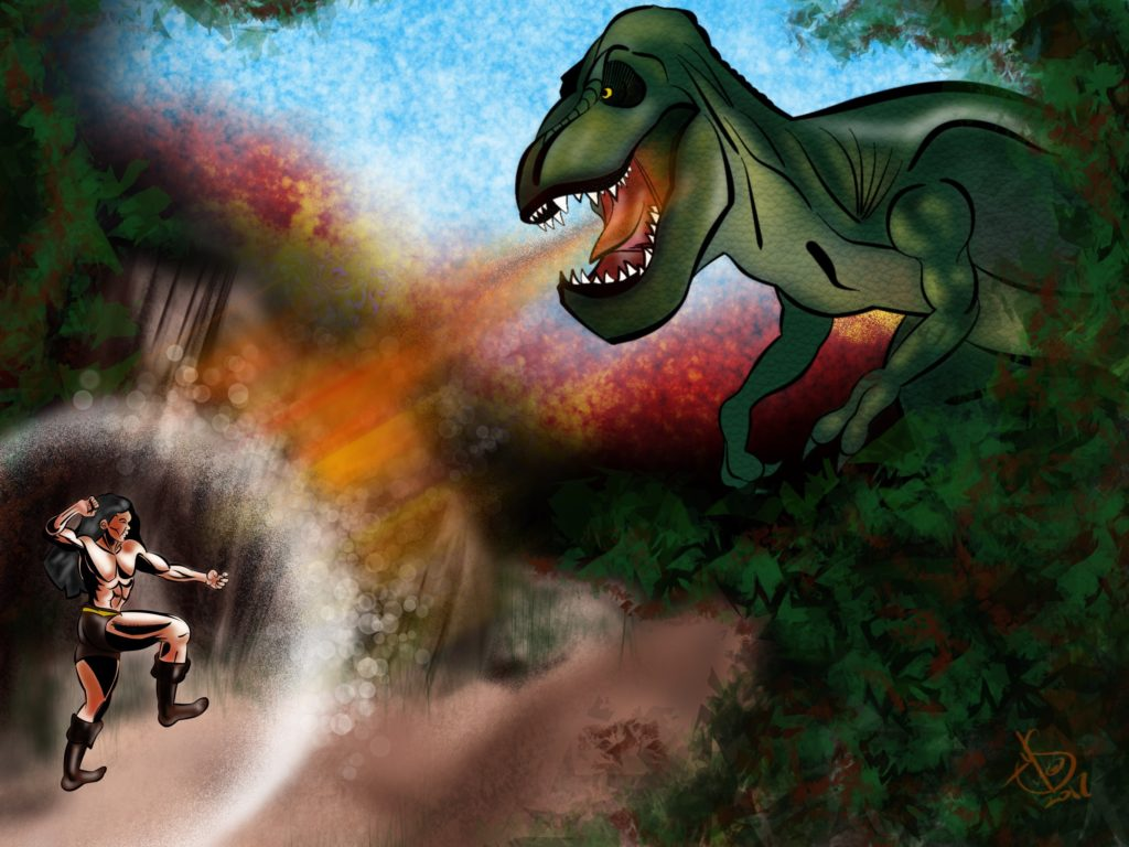 Artwork of a barbarian fighting a T-Rex by Michael Soto
