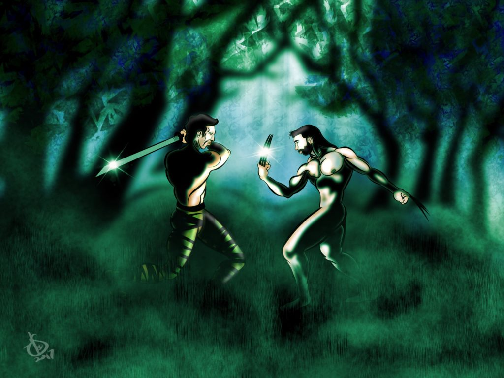 Artwork of Wolverine fighting by Michael Soto